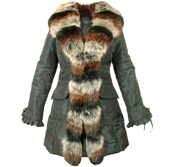 Women's Black Fox Fur-trim Puffer Coat - Forzieri