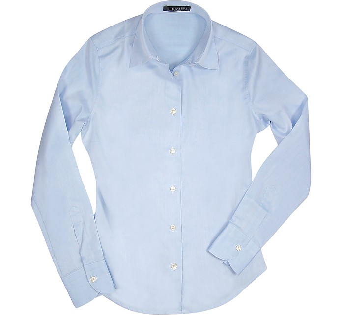Solid Light Blue Cotton Classic Fitted Blouse - Forzieri