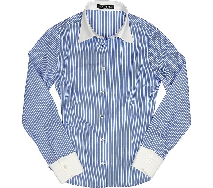 White & Blue Pencil Stripe Cotton Blouse - Forzieri