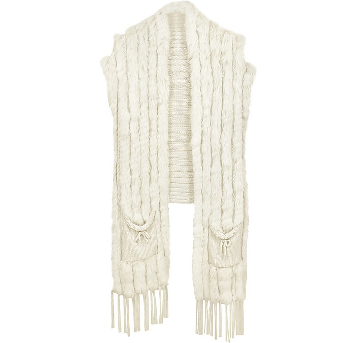 Long White Wool and Rabbit Fur Vest - Forzieri