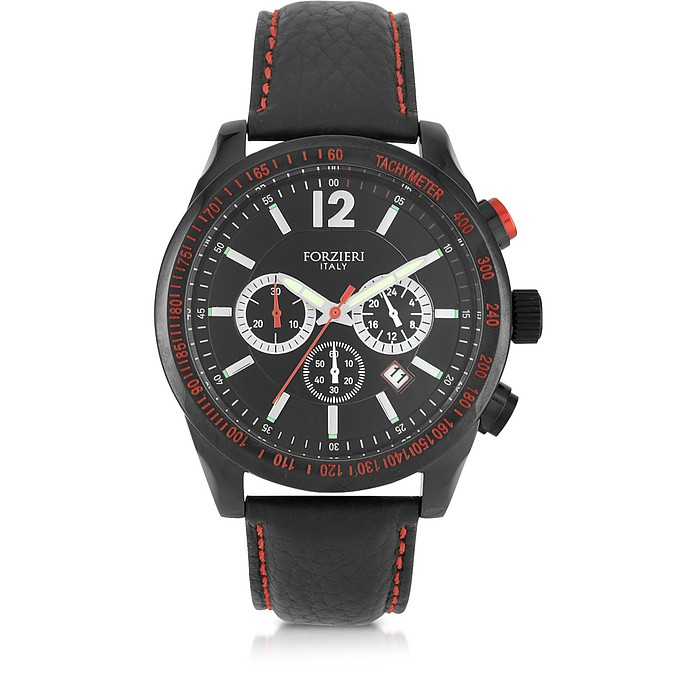 Assen Black and Red Chronograph Men's Watch - Forzieri