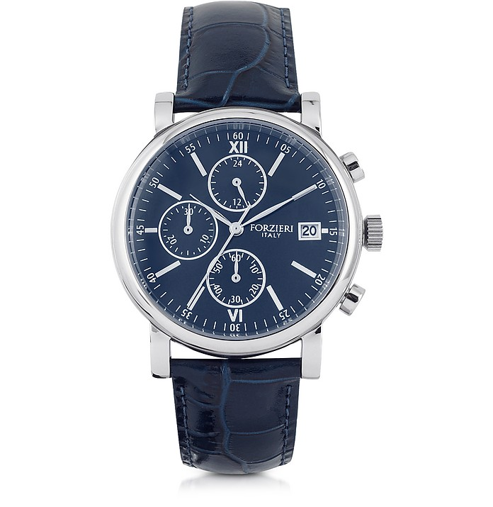 Berlino Silver Tone Stainless Steel Case and Genuine Embossed Leather Men's Chrono Watch - Forzieri