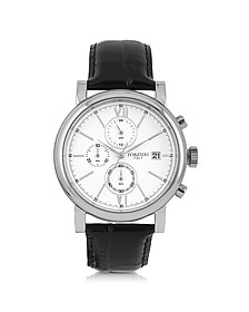 Baviera Silver Tone Stainless Steel Case and Black Embossed Leather Men's Chrono Watch - Forzieri