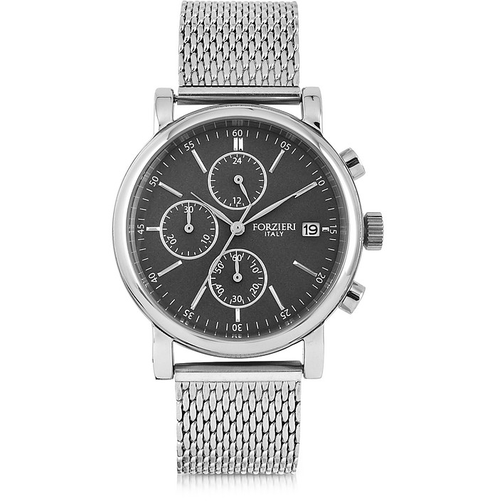 Berlino Silver Tone Stainless Steel Men's Chrono Watch - Forzieri / フォルツィエリ