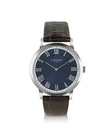 Donatello - Slim Brown Leather Watch - Forzieri