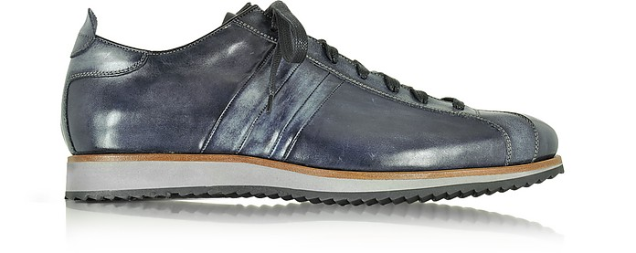 Italian Handcrafted Black/Blue Washed Leather Sneaker - Forzieri