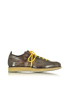 Italian Handcrafted Coffee Washed Leather Sneaker  - Forzieri