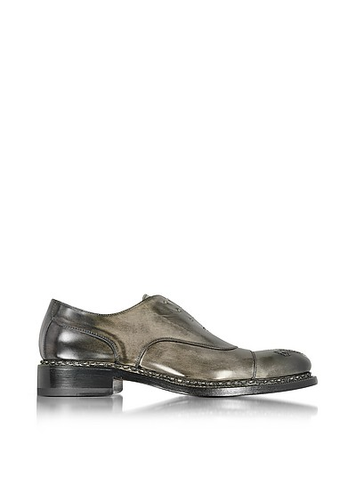 Italian Handcrafted Black/Gray Washed Leather Oxford Shoe - Forzieri