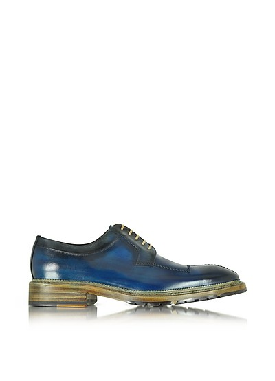 Italian Handcrafted Blue and Gray Washed Leather Derby Shoe - Forzieri