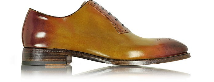 Italian Handcrafted Two-Tone Leather Oxford Shoe - Forzieri