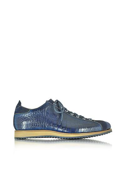 Italian Handcrafted Indigo Blue Suede & Croco Print Leather Sneaker - Forzieri