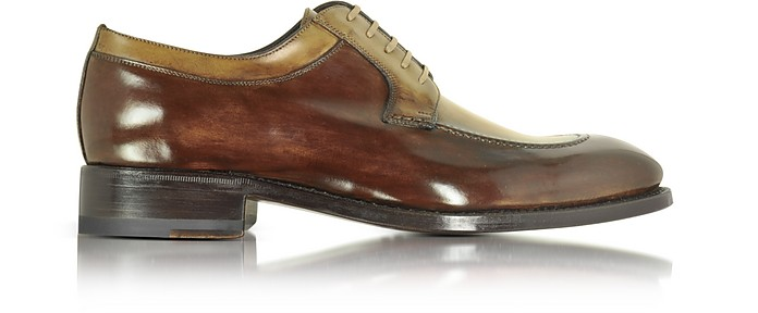 Italian Handcrafted Two Tone Leather Derby Shoe - Forzieri