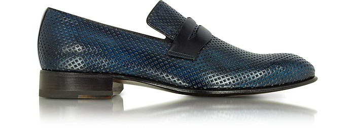 Italian Handcrafted Ocean Blue Perforated Leather Loafer Shoe - Forzieri