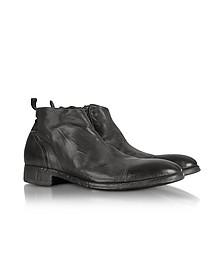 Ebony Washed Leather Boots - Forzieri