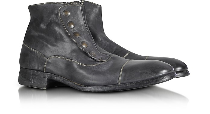 Smoke Grey Washed Leather Boots - Forzieri