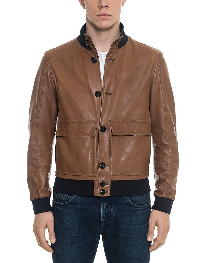 Brown Leather Men's Bomber Jacket - Forzieri