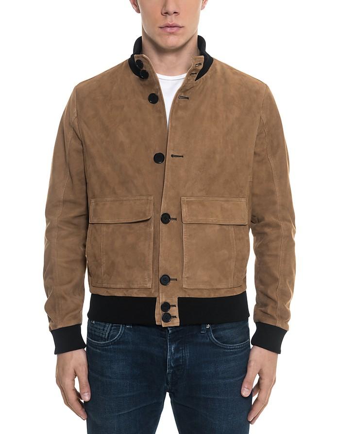 Brown Suede Men's Bomber Jacket - Forzieri