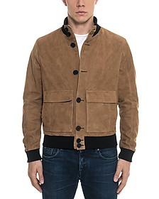 Brown Suede Men's Bomber Jacket - Forzieri