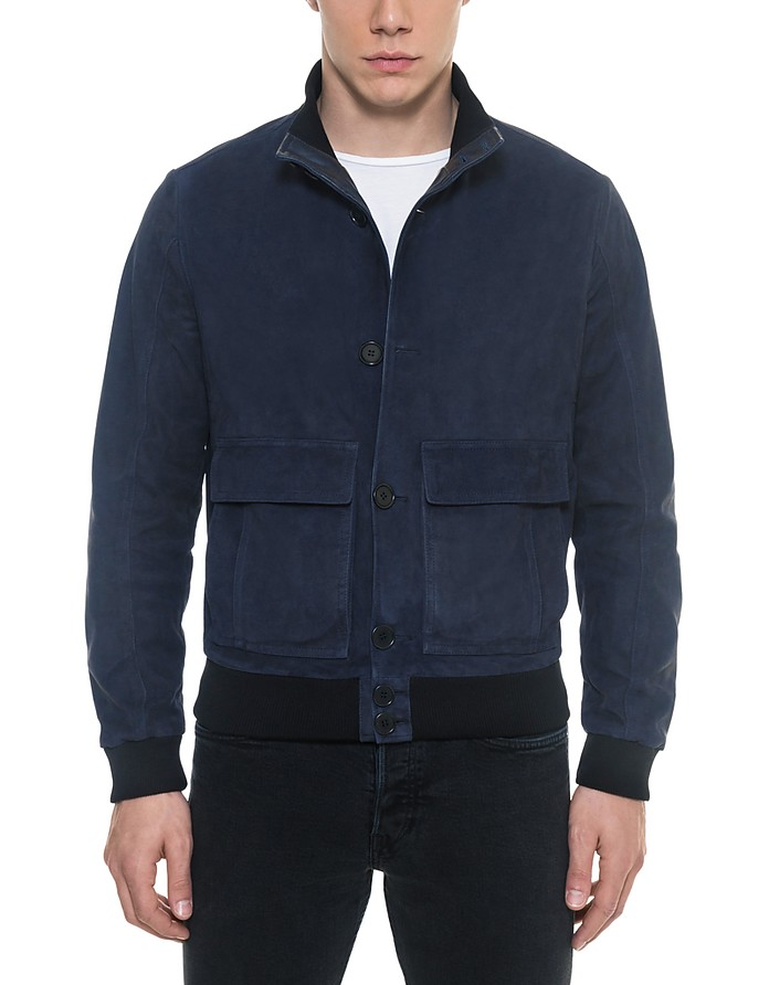Midnight Blue Suede Men's Bomber Jacket - Forzieri / フォルツィエリ