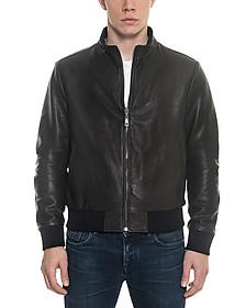 Black Leather and Nylon Men's Reversible Jacket - Forzieri
