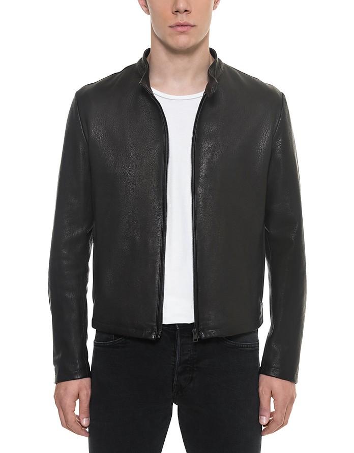 Black Leather Men's Biker Jacket - Forzieri