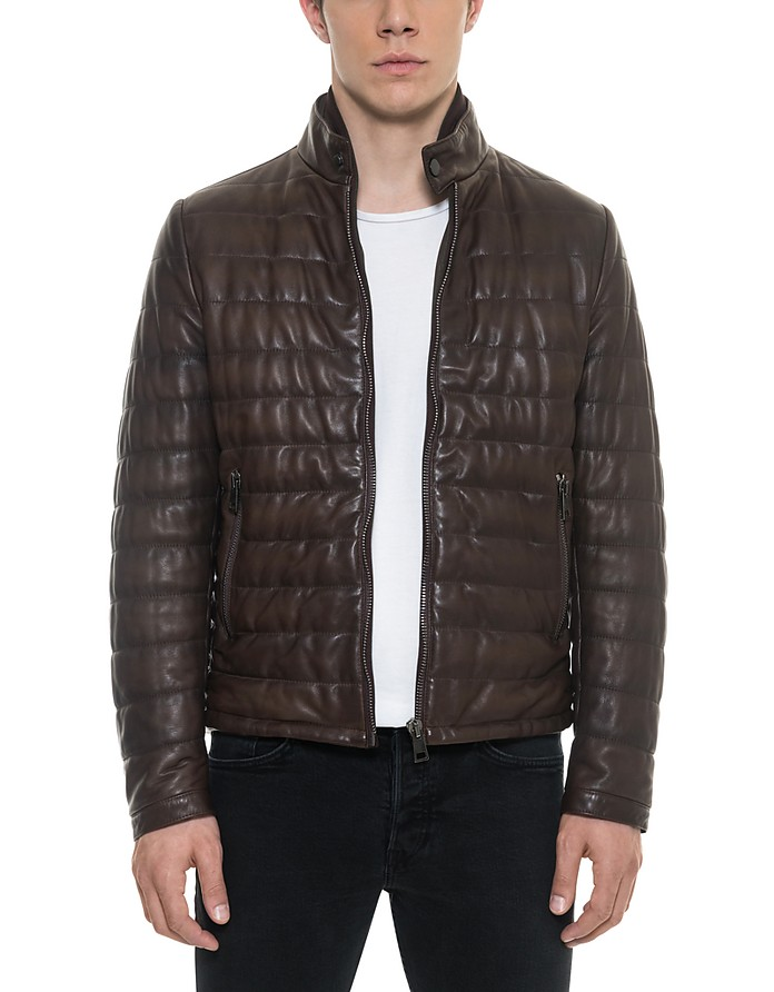 Forzieri Dark Brown Quilted Leather Mens Jacket 38 Usa Uk 48