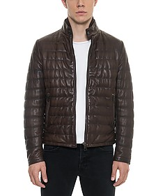 Dark Brown Quilted Leather Men's Jacket - Forzieri