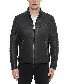 Black Padded Leather Men's Biker Jacket - Forzieri