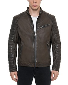 Dark Brown Padded Leather Men's Biker Jacket - Forzieri