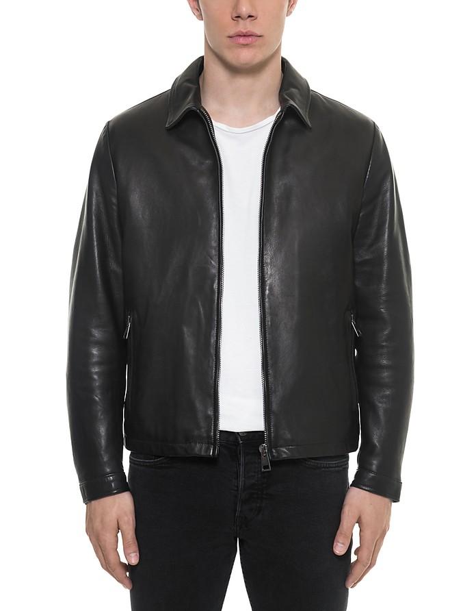 Black Padded Leather Men's Zippered Jacket - Forzieri