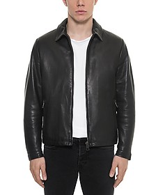 Black Padded Leather Men's Zippered Jacket - Forzieri / フォルツィエリ
