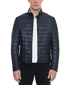 Dark Blue Quilted Leather Men's Jacket - Forzieri