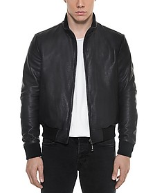 Dark Blue Leather and Nylon Men's Reversible Jacket - Forzieri