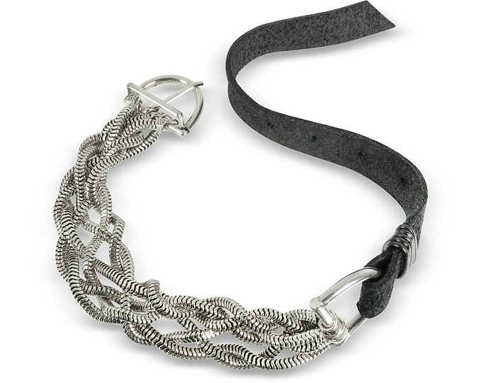 Leather Bracelet w/Silver Braid - Giacomo Burroni