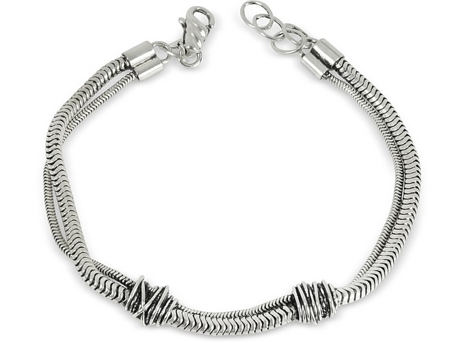 Etruscan Knot Silver Chain Bracelet - Giacomo Burroni