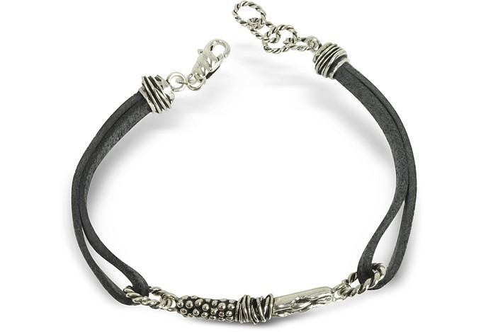 Leather Bracelet w/Bar - Giacomo Burroni