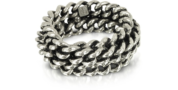 Sterling Silver Links Ring - Giacomo Burroni