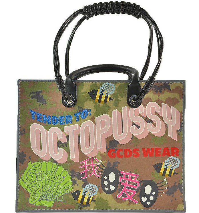 Camouflage Green Octopussy Print Tote Bag - GCDS