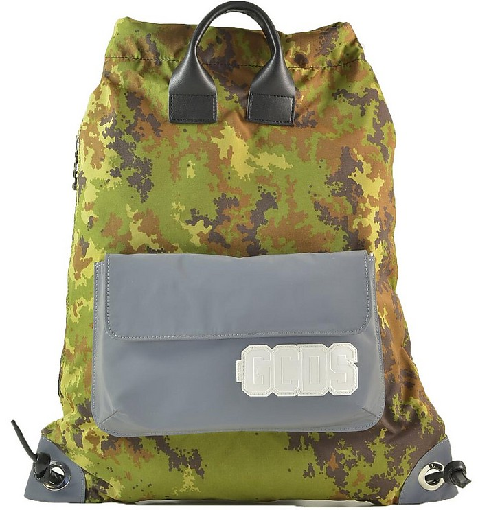 Camouflage Green Top Handle Drawstring Backpack - GCDS