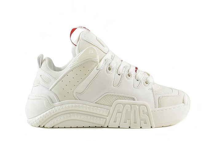 White Leather Mid-Top Sneakers - GCDS