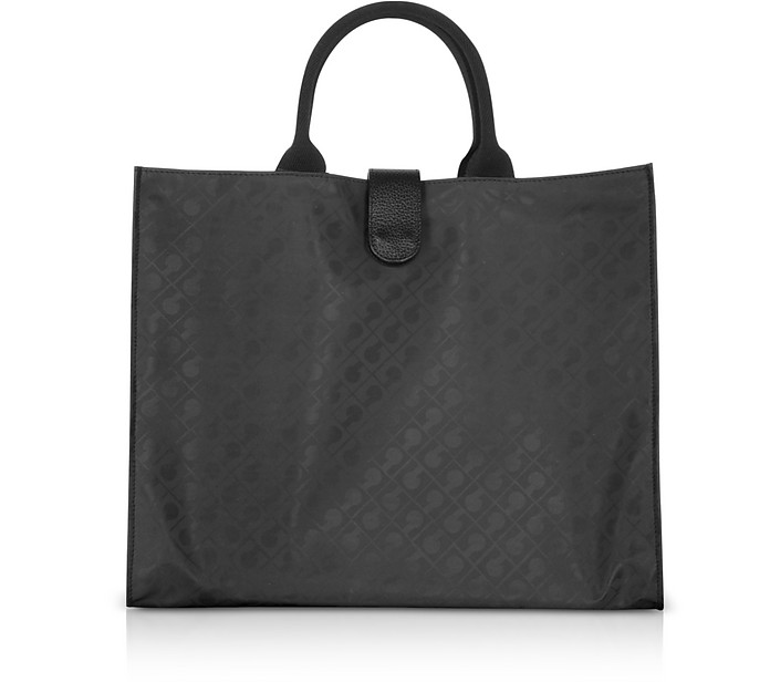 Black Softy Squared Foldable Tote - Gherardini