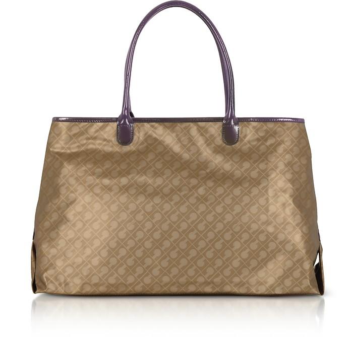 Hazelnut Signature Fabric Softy Tote w/Patent Leather Double Handles - Gherardini