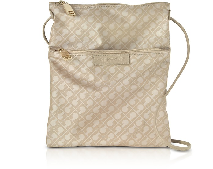 Clay Signature Fabric and Leather Softy Crossbody Bag w/Zip Front Pocket - Gherardini
