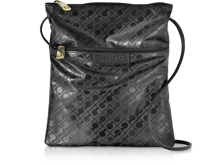 Black Signature Coated Canvas and Leather Softy Crossbody Bag w/Zip Front Pocket - Gherardini