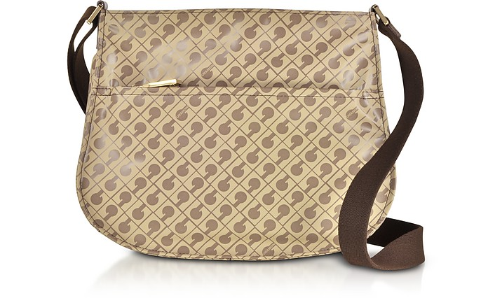 Signature Fabric and Leather Softy Small Shoulder Bag w/Zip Front Pocket - Gherardini