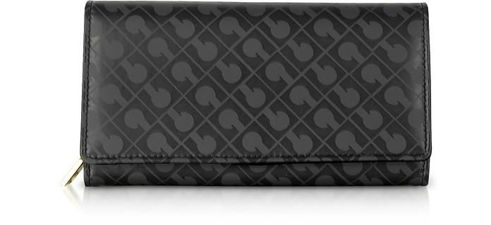 Signature Black Leather & Fabric Flap Wallet - Gherardini