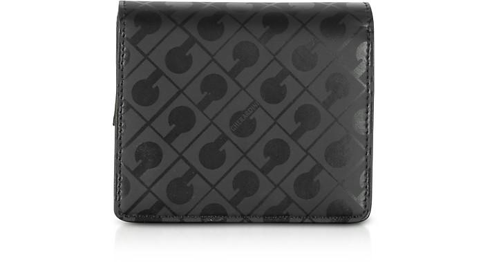 Signature Black Leather Fabric Coin Purse - Gherardini