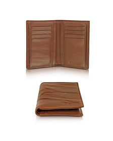 Pleated Leather Men's Vertical Wallet