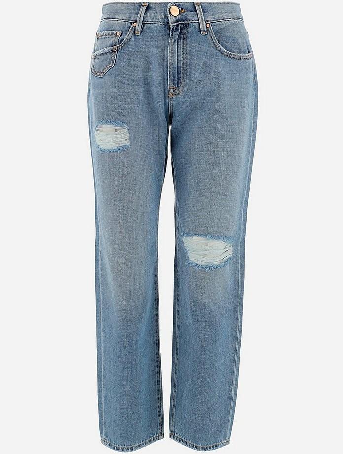 Light Blue Distressed Denim Women's Jeans - Gems