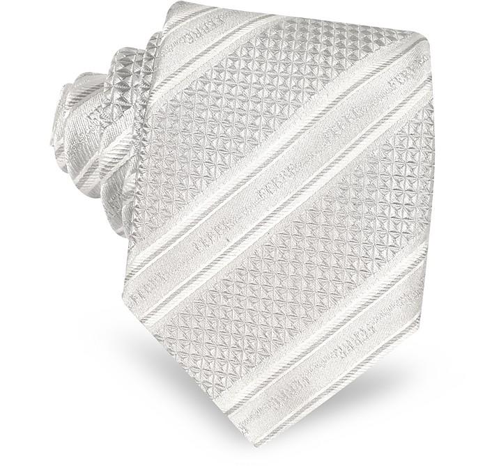 Pearl Gray Signature Striped Woven Silk Tie - Gianfranco Ferre